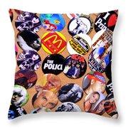Button Crazy Throw Pillow