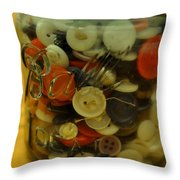Buttons And Ball Throw Pillow