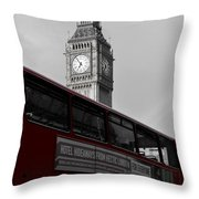 Bw Big Ben And Red London Bus Throw Pillow