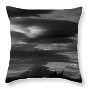 Bw Clouds Over Mt Adams Throw Pillow
