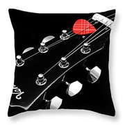 Bw Head Stock With Red Pick  Throw Pillow