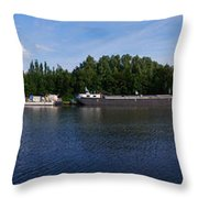 By A Canal Panorama Throw Pillow