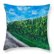 By An Indiana Cornfield The Road Home Throw Pillow