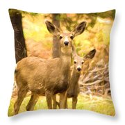 By Mama's Side - Photo Manipulation - Mule Deer - Casper Mountain - Casper Wyoming Throw Pillow