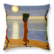 By The Beach Throw Pillow by Tilly Willis