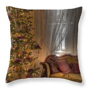 By The Christmas Tree Throw Pillow