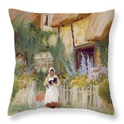 By The Cottage Gate  Throw Pillow