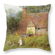 By The Cottage Gate Wc On Paper Throw Pillow