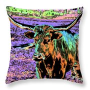 By The Horns Throw Pillow