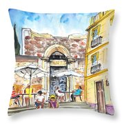 By The Old Cathedral In Cartagena 01 Throw Pillow