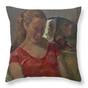 By The Old Mirror, 2009 Oil On Canvas Throw Pillow
