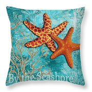 By The Sea Shore Original Coastal Painting Colorful Starfish Art By Megan Duncanson Throw Pillow by Megan Duncanson