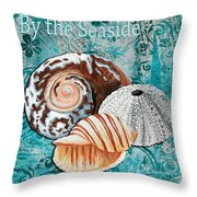 By The Seaside Original Coastal Painting Colorful Urchin And Seashell Art By Megan Duncanson Throw Pillow