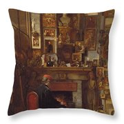 By The Studio Fire, 1860 Throw Pillow by John Dawson Watson