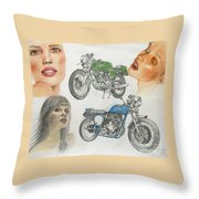 Bykes And Byrds 1 Throw Pillow