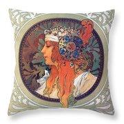 Byzantine Head The Blonde Throw Pillow