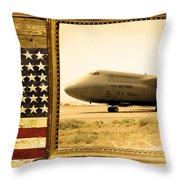 C-5 Galaxy Rustic Flag Throw Pillow