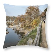 C And O Canal Above And Potomac River Below Throw Pillow