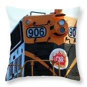 C N R Train 906 Rustic Throw Pillow