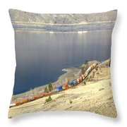 C P R And C N R Freight Trains Throw Pillow