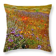 Ca Poppies And Goldfields And Lacy Phacelia And Sage In Antelope Valley Ca Poppy Reserve-california Throw Pillow