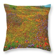 Ca Poppies And Goldfields And Lacy Phacelia In  Antelope Valley Ca Poppy Reserve-california  Throw Pillow