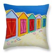 Cabana Row - Colorful Beach Cabanas Throw Pillow