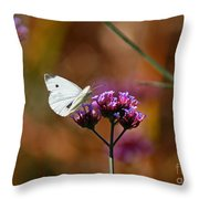 Cabbage White Butterfly In Fall Throw Pillow
