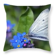 Cabbage White Butterfly On Forget-me-not Throw Pillow