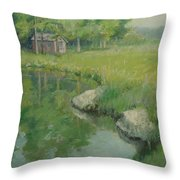 Cabin By The Pond Throw Pillow