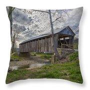 Cabin Creek Covered Bridge Throw Pillow
