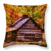 Cabin In Autumn Throw Pillow