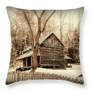 Cabin In Cades Cove Throw Pillow