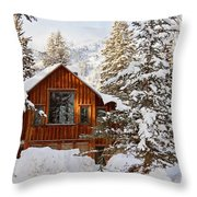 Cabin In Snow Throw Pillow