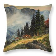 Cabin In The Alps Throw Pillow