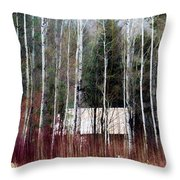 Cabin In The Forest Throw Pillow