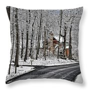 Cabin In The Woods Throw Pillow by Lara Ellis