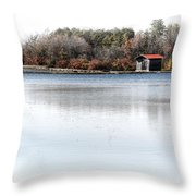 Cabin On A Lake Throw Pillow