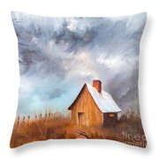 Cabin With Fence Throw Pillow
