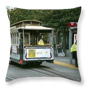 Cable Car At Fisherman's Wharf Throw Pillow