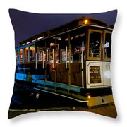 Cable Car At Night Throw Pillow