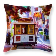 Cable Car At The Powell Street Turnaround Throw Pillow