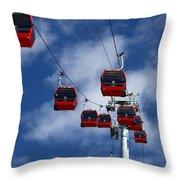 Red Line Cable Car Gondolas Bolivia Throw Pillow
