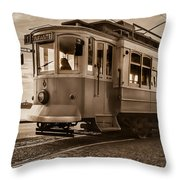 Cable Car In Porto Portugal Throw Pillow