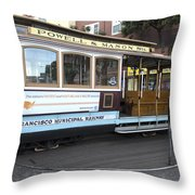 Cable Car Turn-around At Fisherman's Wharf No. 2 Throw Pillow