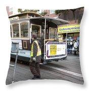 Cable Car Turn Around Fisherman's Wharf Throw Pillow