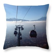 Cable Cars Over La Paz City Throw Pillow