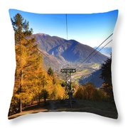 Cableway In Autumn Throw Pillow