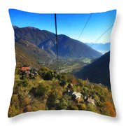 Cableway Over The Mountain Throw Pillow