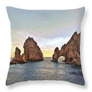 Cabo San Lucas Arch Sunset Throw Pillow